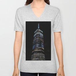 World Trade Center, Liberty Tower at night, New York (2020-5-GNY142) Unisex V-Neck