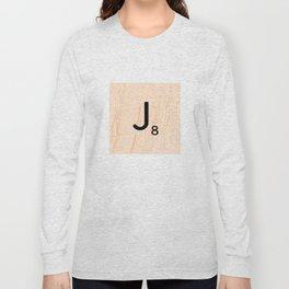 Scrabble Letter J - Large Scrabble Tiles Long Sleeve T-shirt