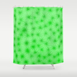 Green Fuzzball Abstract Shower Curtain