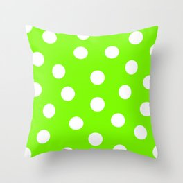 Polka Dots - Lawn Green and White Throw Pillow