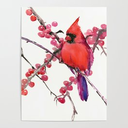 Red Cardinal and Berries, Christmas Red design Christmas Decor Gift Poster