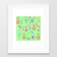 owls Framed Art Prints featuring Owls by luizavictoryaPatterns