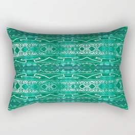 Vintage Tribal Distressed Green Rectangular Pillow