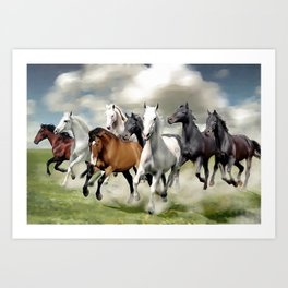 8 Horses Running Art Print