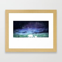 Aurora borealis and polar bears (white version) Framed Art Print