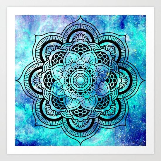 Galaxy Mandala Aqua Indigo Art Print