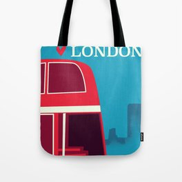 Love London vintage bus travel poster Tote Bag