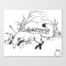 Dying Fox with Apples Canvas Print