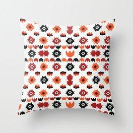 Bohemian Black Red Floral Folk Throw Pillow