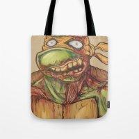 ninja turtle Tote Bags featuring zombie ninja turtle by mileshustonart
