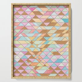 Triangle Pattern No. 25 Gold Pink Turqouise Serving Tray