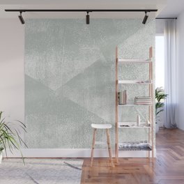 Gray Green and White Geometric Ink Texture Wall Mural