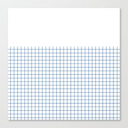 Dotted Grid Boarder Blue on White Canvas Print