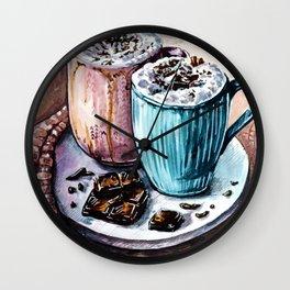 Coffee watercolor art Wall Clock
