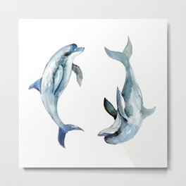 Dolphin, Two Dolphins, chidlren room decor illustration dolphin art Metal Print