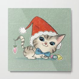 Christmas Kitty Metal Print