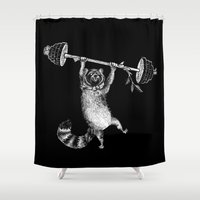 fitness Shower Curtains featuring RaccoonBear Fitness by Brooke Duckart