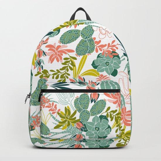 Succulent Garden White Backpack