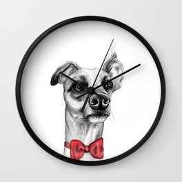 Whippet Wearing Bow Tie Wall Clock
