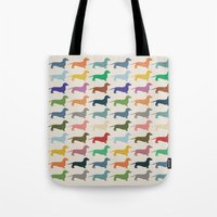 dachshund Tote Bags featuring Dachshund by Opul
