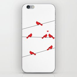 Red birds - winter talk iPhone Skin