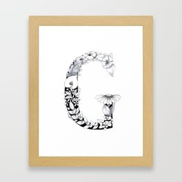 Floral Pen and Ink Letter G Framed Art Print