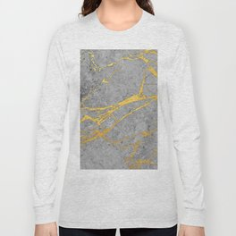 Grey Marble and Gold Long Sleeve T-shirt