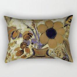 "Odilon Redon ""Etruscan Vase with Flowers"" Rectangular Pillow"