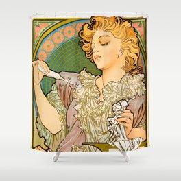 "Alphonse Mucha ""Lance parfum Rodo"" Shower Curtain"