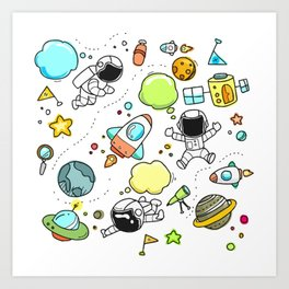 Astro sketch pattern Art Print