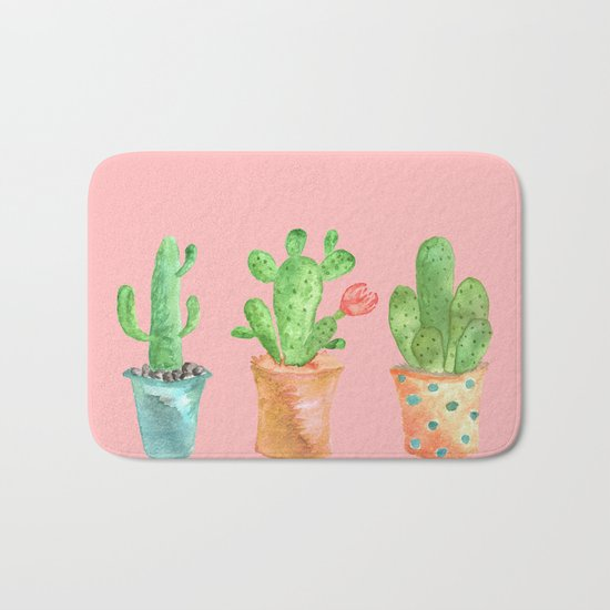 Three Green Cacti On Pink Background Bath Mat