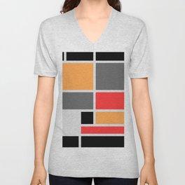 Mondrianista orange red black and gray Unisex V-Neck
