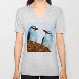 Woodland Kingfisher chit chat Unisex V-Neck