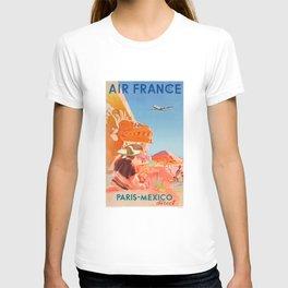1952 AIR FRANCE Paris Mexico Direct Travel Poster T-shirt