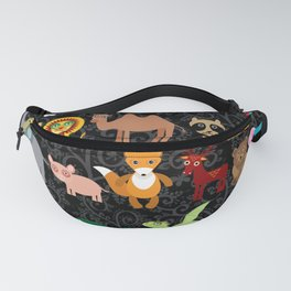 Set of funny cartoon animals character on  black seamless background. zoo. Fanny Pack