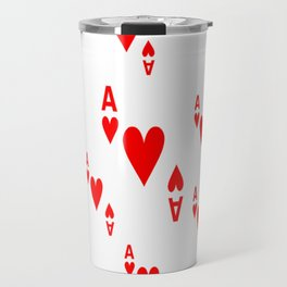 LOTS OF DECORATIVE  RED  ACES & HEARTS PLAYING CARDS CASINO ART Travel Mug