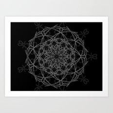 mandala in black Art Print