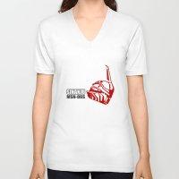 gundam V-neck T-shirts featuring Mobile Suit Gundam Unicorn - Sinanju by Nanico