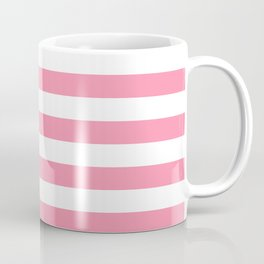 Narrow Horizontal Stripes - White and Flamingo Pink Coffee Mug