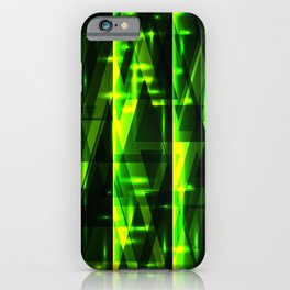 Luxurious green stripes and metallic triangles of blades of grass create abstraction and glow. iPhone Case