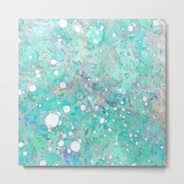 Blue Green Dreamy Marble, Minimal Abstract Pastel Graphic Design Eclectic Bohemian Painting Texture Metal Print