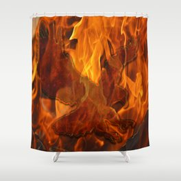 Eagle Flying into the Flames Shower Curtain