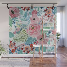 Pretty watercolor hand paint floral artwork. Wall Mural