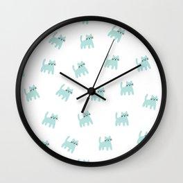 Cute mint hand drawn mouse pattern Wall Clock