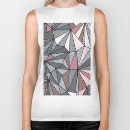 Urban Geometric Pattern on Concrete - Dark grey and pink Biker Tank