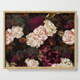 Vintage & Shabby Chic - Midnight Rose and Peony Garden Serving Tray