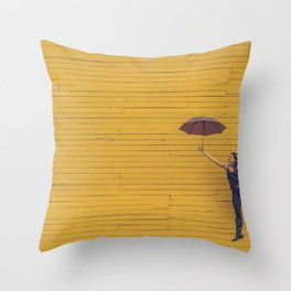 Yellow wall Throw Pillow