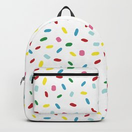 Sweet glazed, with colorful sprinkles on white melting icing Backpack