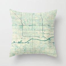 Phoenix Map Blue Vintage Throw Pillow