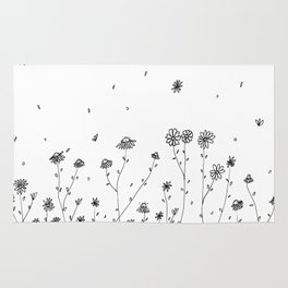 Daisy Flowers Black and White Rug